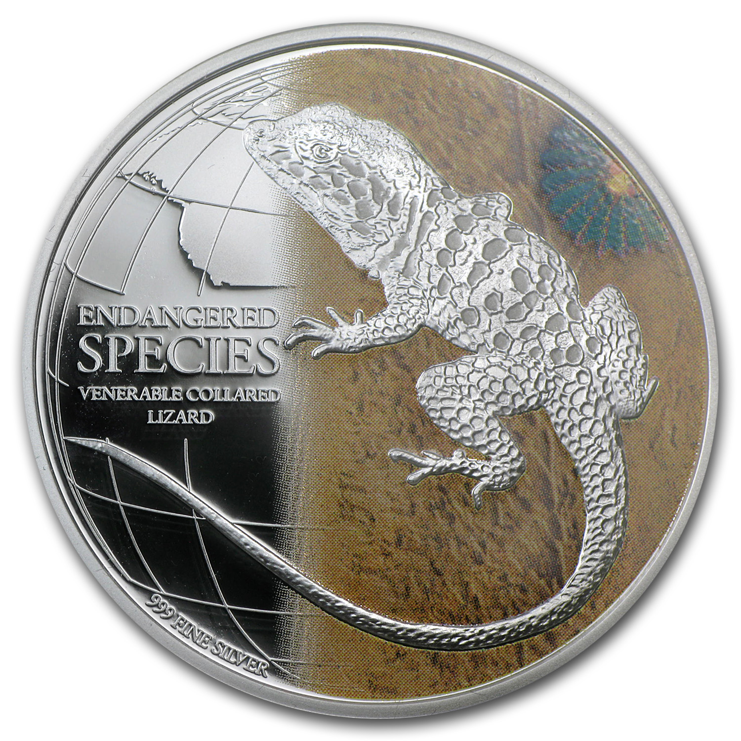 2013 1 oz Silver Endangered Species Venerable Collared Lizard